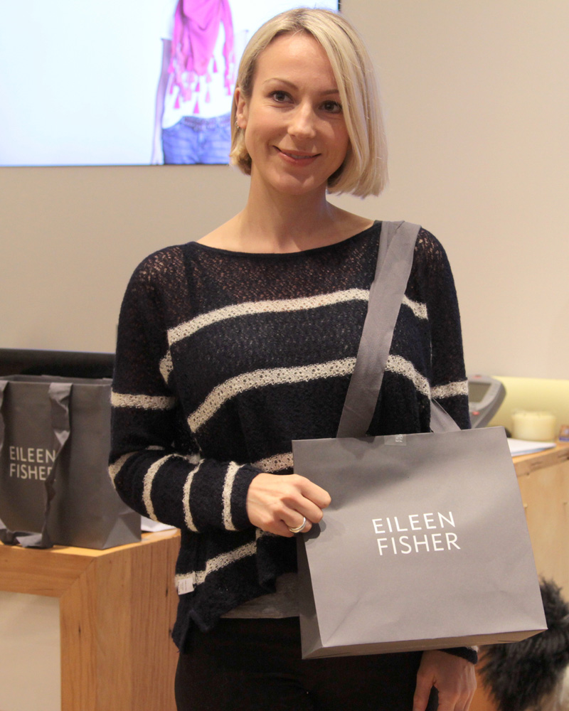 Stylist and blogger Alix Waterhouse wins an Eileen Fisher organic cotton t-shirt during the Fashion Revolution Day event in Covent Garden on 24 April.
