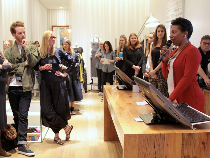 Eileen Fisher's PR and Social Media Leader speaks at the Fashion Revolution Day event at the brand's flagship Covent Garden store.