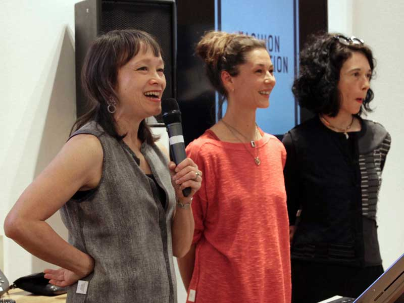Amy Hall, Eileen Fisher's director of social consciousness, Jocelyn Whipple and Orsola De Castro talk about eco fashion at Fashion Revolution Day event at Eileen Fisher's coven garden.