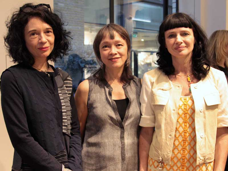 The speakers and the Eileen Fisher Fashion Revolution day event, including Orsola De Castro and Amy Hall.